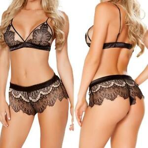 56fca8085ad Image is loading Sexy-Women-Lace-Ladies-Bra-Crotchless-Lingerie-Thong-