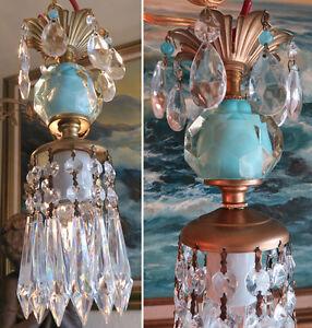 1o5 vintage swag ocean blue aqua brass hanging lamp chandelier image is loading 1o5 vintage swag ocean blue aqua brass hanging aloadofball Choice Image