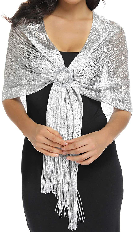 Dark Silver Grey Organza ball wrap Shawl Stole Evening Scarf Diner Dance Party