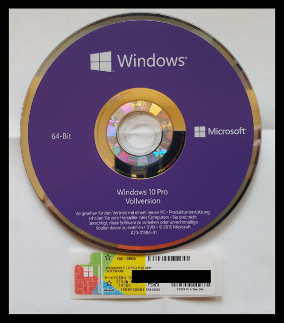 Windows 10 professional COA Aufkleber Key , DVD 64Bit Deutsche OEM