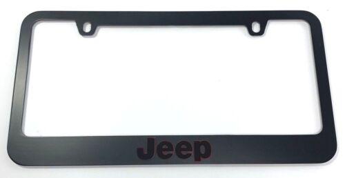 Jeep Matte Black Premium License Plate Frame Letters Red Outlined Emblem