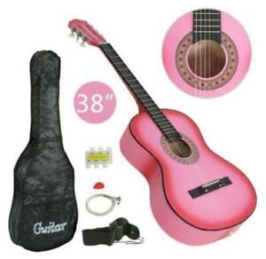 38-Pink-Acoustic-Girls-039-Guitar-Full-Size-Package-with-Flexible-bag-New