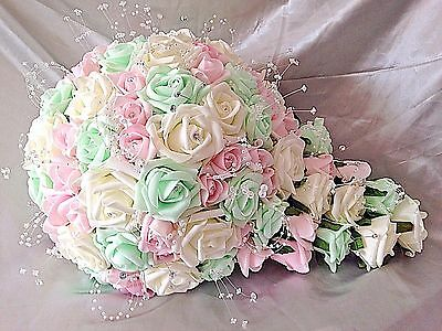 BABY PINK AND WHITE TEARDROP WEDDING BOUQUET WITH GYP CRYSTALS AND DIAMANTE/'S.