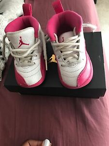 huge selection of f0a3a d5f36 Details about Toddler Girl Pink and White Jordan 12 Retro size 5c