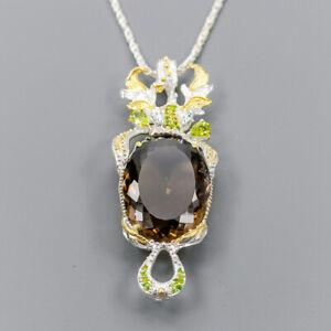 Smoky Quartz Necklace 925 Sterling Silver Handmade50ct+ Length 19.75/N04591