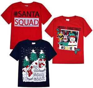 Filles-Garcons-Noel-t-shirts-enfants-Noel-Top-Rouge-Bleu-Marine-Age-7-8-9-10-11-12-13-ans