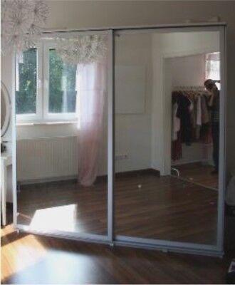 X2 Ikea Pax Malm Silver Double Sliding, Ikea Pax Double Wardrobe With Mirror Doors