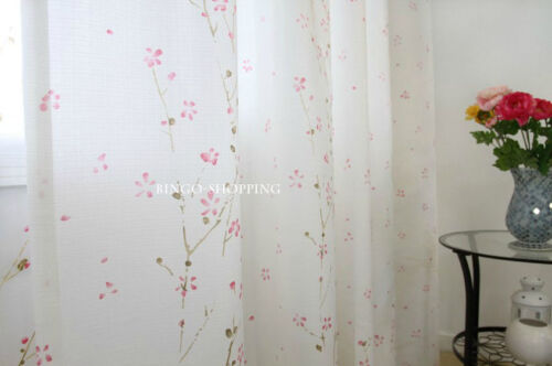 2 PCS Elegant Custom Made Floral Pink Flower Window Curtain Panels D018
