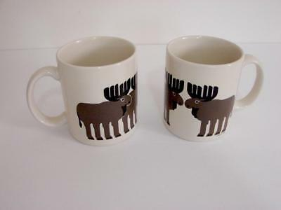 Lot of 2 Taylor and Ng Moose Herd Ceramic Brown /& White Coffee Mugs Cup