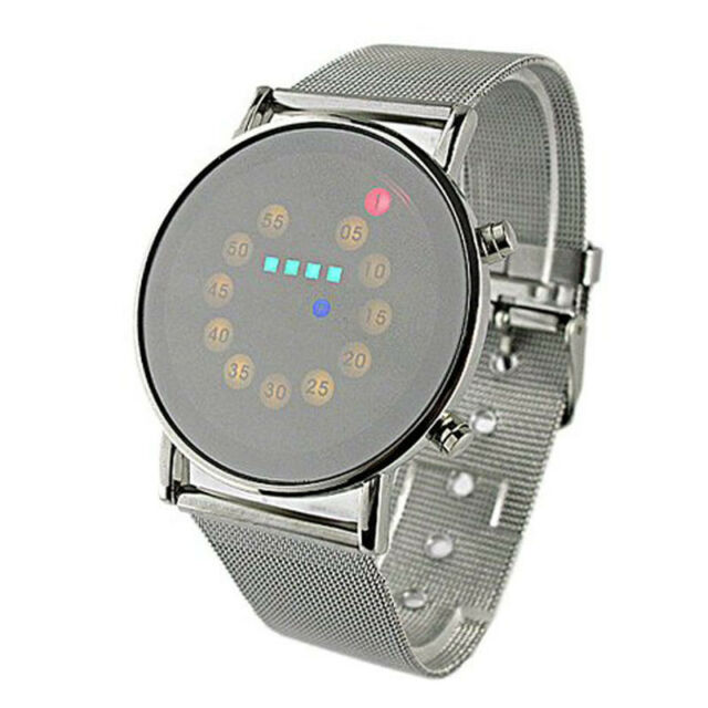 Distinctive Red+Yellow+Green+Blue LED Light Stainless Steel Fashion Wrist Watch