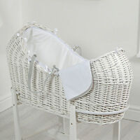 4baby White Waffle White Wicker Baby Moses Basket / Snooze Pod With Mattress