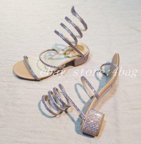 Women/'s Rhinestone Chunky Heels Gladiators Roman Open Toe Sandals Shoes Bohemia