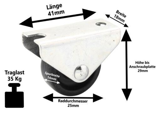 4 x Kunststoff Bettkasten Möbel Laufrolle Ø 25 mm Parkett Laminat Rollen 35 KG