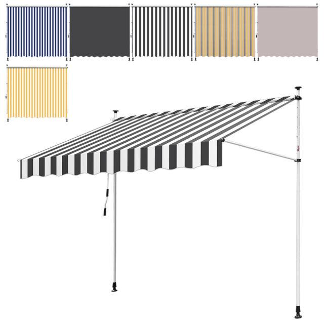 Markise Balkon Klemmmarkise Sonnenschutz 350x120cm Creme ohne Bohren B-Ware