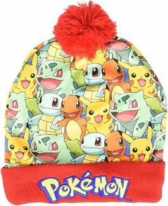 7a2c873f433 Image is loading Pokemon-Pikachu-Charmander-Squirtle-Bulbasaur-Printed- Winter-Hat-