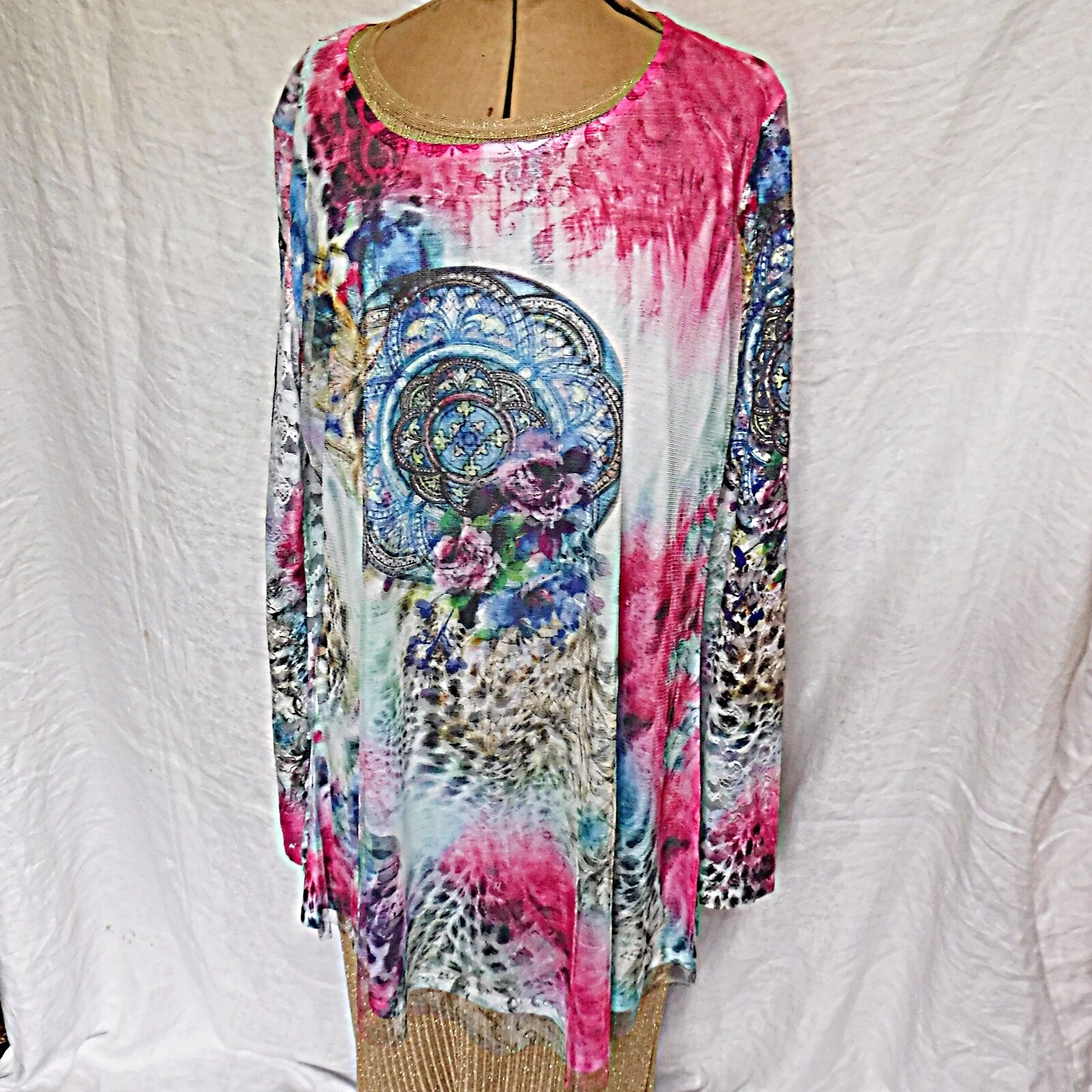 *INNOCENT FROM TRIBAL VOICE L/SLEEVE LACE NET PRINTED PINK BLUE MINI DRESS TOP L