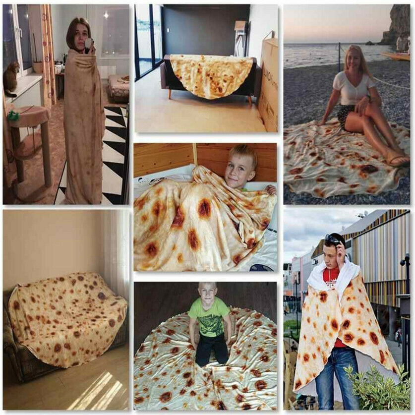 "Tortilla Burrito Blanket Flanne Round Corn /& Flour Fleece Blanket 60/"" Soft Towel"