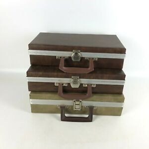 Lot-of-3-Vintage-Faux-Leather-Cassette-Cases-Briefcase-Suitcase-Style
