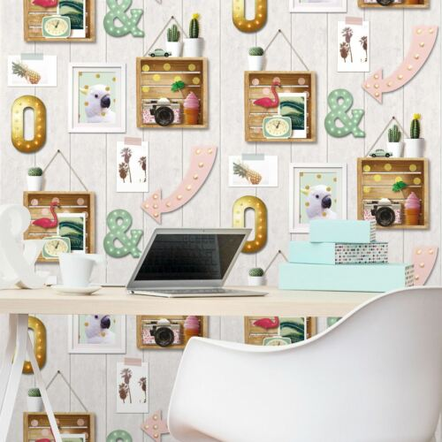 CALIFORNIA GIRL WALLPAPER WINDSOR WALLCOVERINGS WOOD PLANKS CACTUS