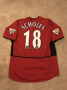 868dd2619 MANCHESTER UNITED HOME SHIRT 2003 04 ADULTS LARGE (L) SCHOLES 18 ...