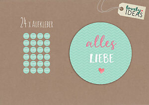 24-x-Geschenkaufkleber-034-Alles-Liebe-034-40mm-rund-tuerkis-Etiketten-Aufkleber