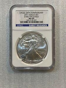 2011-American-Silver-Eagle-Dollar-1-oz-NGC-MS69-ER-25th-Anniv-Label-397