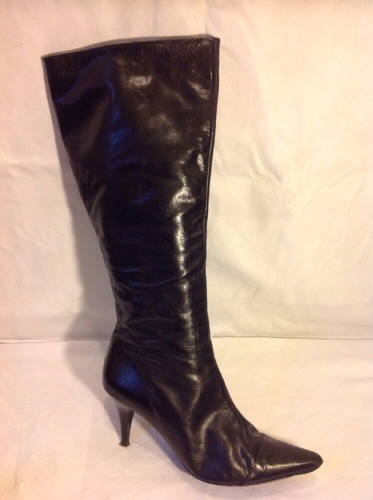 Office London Black Knee High Leather Boots Size 39