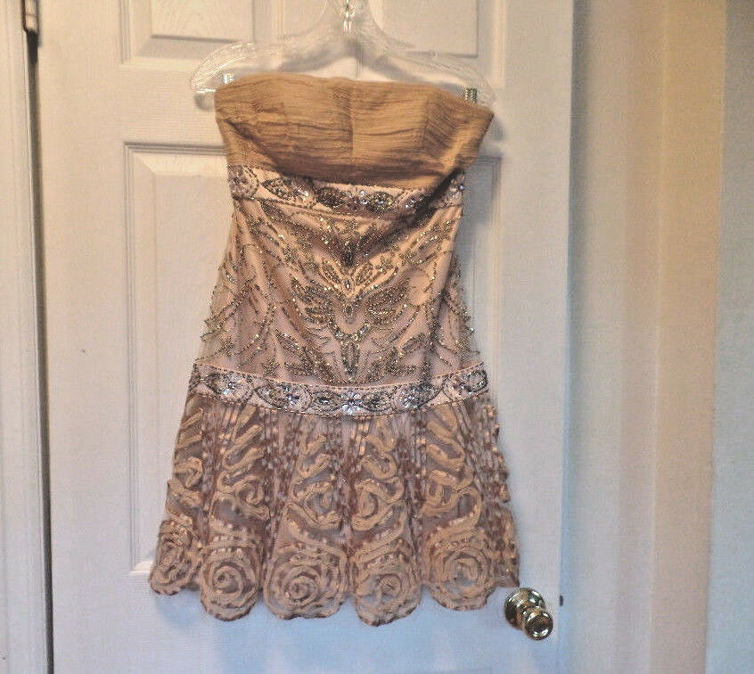 SUE WONG GORGEOUS SHORT SPECIAL OCCASION DUSTY PEACH STRAPLESS  DRESS NWT SZ 6 S