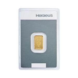2 Gramm Goldbarren Kinebar Heraeus Gold 999,9 Feingold Barren Kinebarren