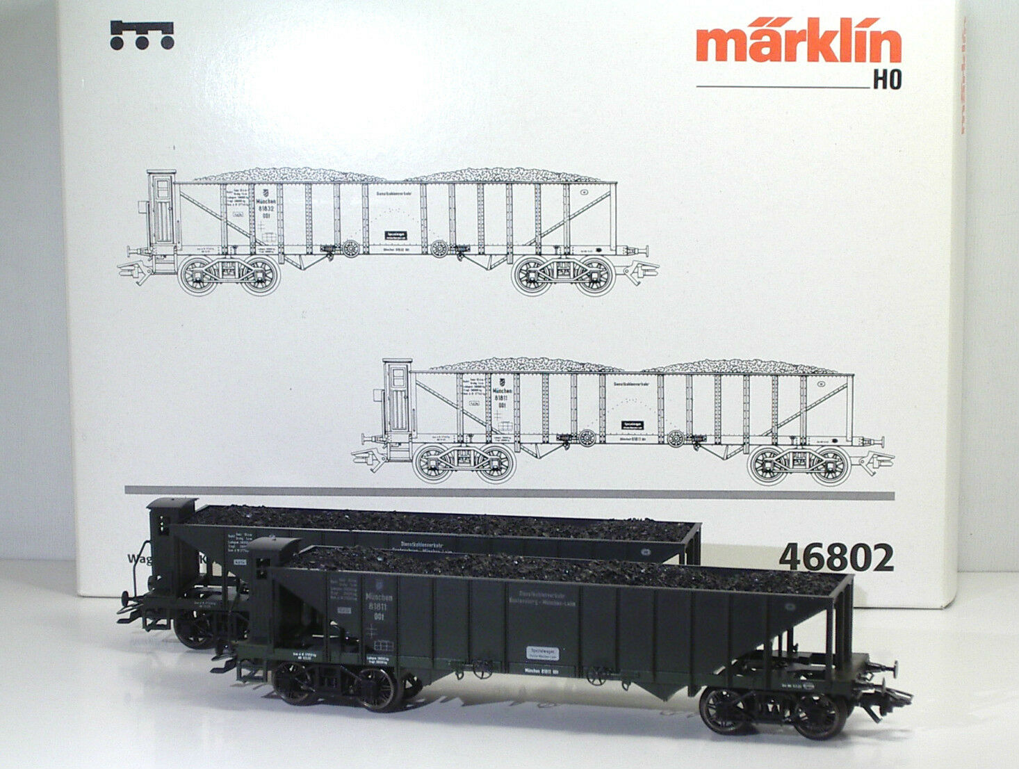 MÄRKLIN 46802 46802 46802 K.Bay.Sts.B.Wagen-Set  Kohlentrichterwagen  Ep I 4b25e5