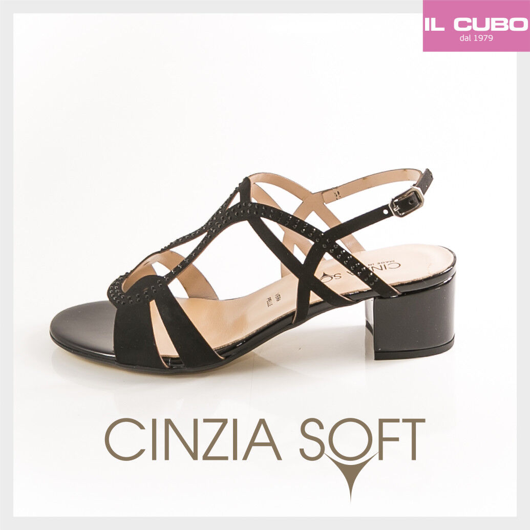 Último gran descuento CINZIA SOFT SANDALO DONNA SCARPA COLORE NERO TACCO H.4 CM NEW COLLECTION