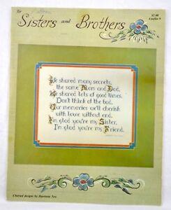 VINTAGE-1980-SISTERS-amp-BROTHERS-SAMPLER-COUNTED-CROSS-STITCH-LEAFLET-PATTERN