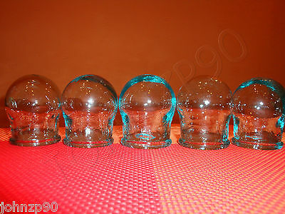 5 ANTICELLULITE GLASS CUPS VACUUM CHINESE MASSAGE CUPPING NECK HEALTH USSR NEW