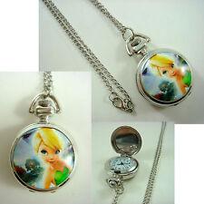 Princess Tinkerbell Girl Women Ladies Child Fashion Pocket Watch Necklace +CHARM