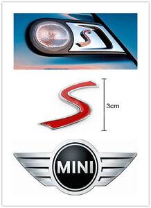 S Logo Badge Emblem Car Body Rear Trunk Lid Sticker Decal for Mini Cooper Car