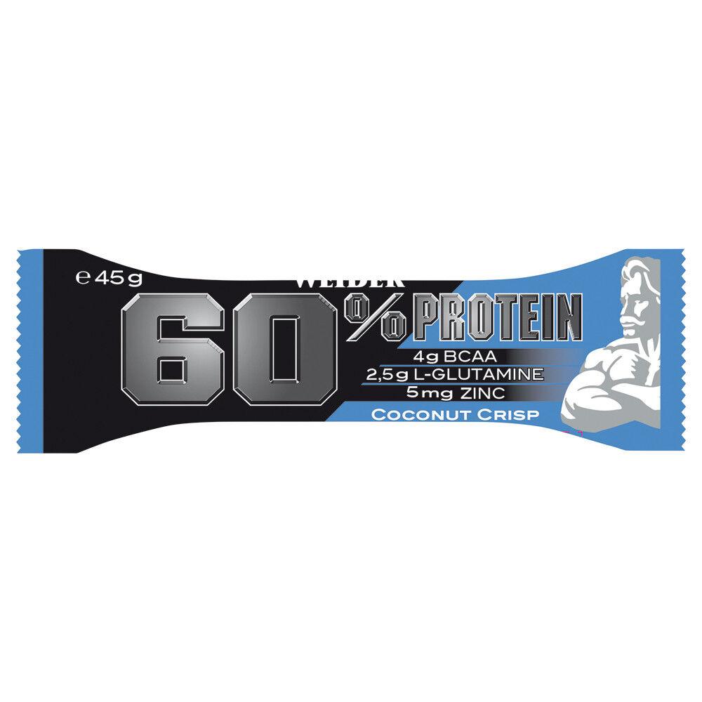 ( /1kg) Weider 60% Protein 45g 24 Riegel Coconut Crisp Eiweiß
