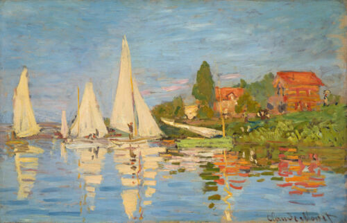 Regatta at Argenteuil by Claude Monet Giclee Print Repro on Canvas