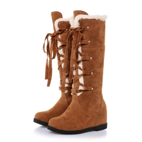 Womens Knee High Snow Boots Sz Hidden Wedge Heels Winter Warm Lace Up Fur Lining