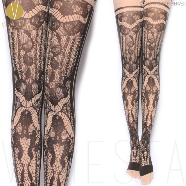 MOCK LACE FISHNET OPAQUE TIGHTS 80D Women's Sexy Trendy Fake Net Print Pantyhose