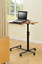 Office Portable Mobile Adjustable Rolling Computer Desk Laptop Cart Stand Table