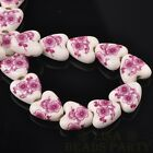 10pcs14mm Heart Geramic Loose Spacer Beads Jewerly Making Fuchsia Plum Blossom