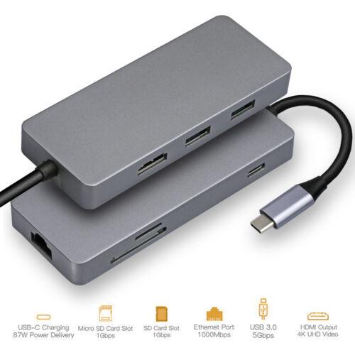"HyperDrive USB Type-C Hub Adapter 50Gbps MacBook Pro 2018 2017 2016 13/"" 15/"" 4K"