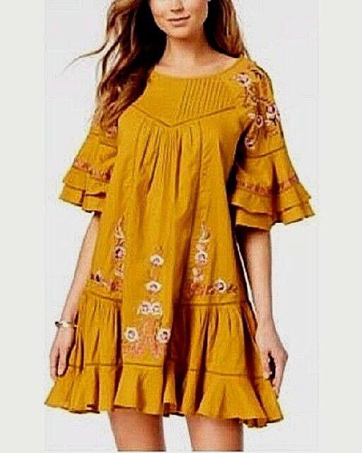 Barra Scimmia nel bel mezzo del nulla  Free People PAVLO 100% Cotton Embroidered Yellow Gold Dress S new$128 for  sale online