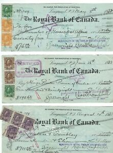 MC3-Used-stamps-on-old-checks-Canada-King-George-V-Admirals