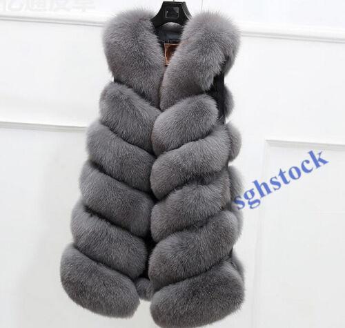 Donna S7 Casual Gilet Gilet di volpe Cappotti Slim pesante Fit Pelliccia Inverno Soprabito Gilet dOw4dq