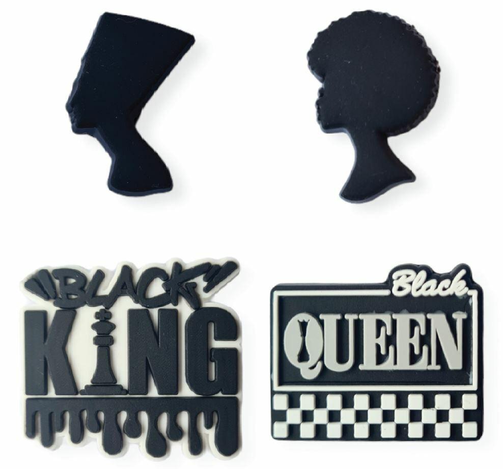 2D Black queen Black king design Shoe charms 4 Pcs set shoe charm shoe clip L2
