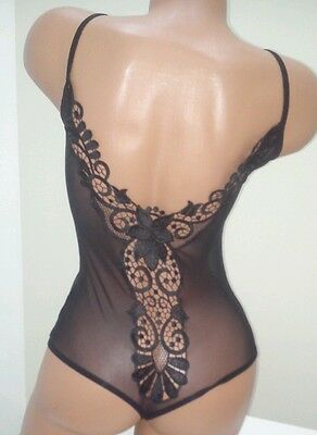 Very sexy sheer black bodysuit spaghetti straps stretch top  L thong leotard