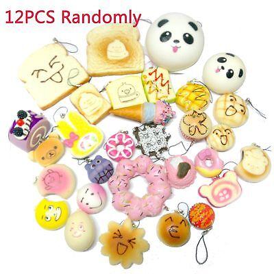 12PCS Random Sent Kawaii Squishies Lots Panda Bun Rlakkuma Toasts Multi Donuts