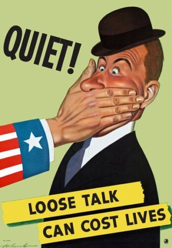 Loose Talk Cost Lives World War Poster WW2 A1 A2 A3 A4 2W47 Vintage WWII Quiet
