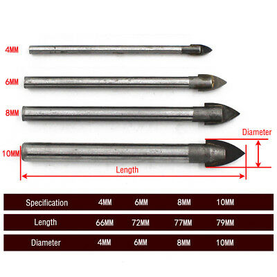 3-10mm HSS Titanium Tungsten Carbide Tile Glass Cross Spear Head Drill Bit UK